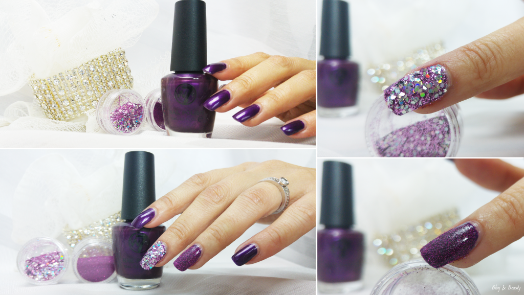W7 Nail Bling Purple Point Swatches Collage