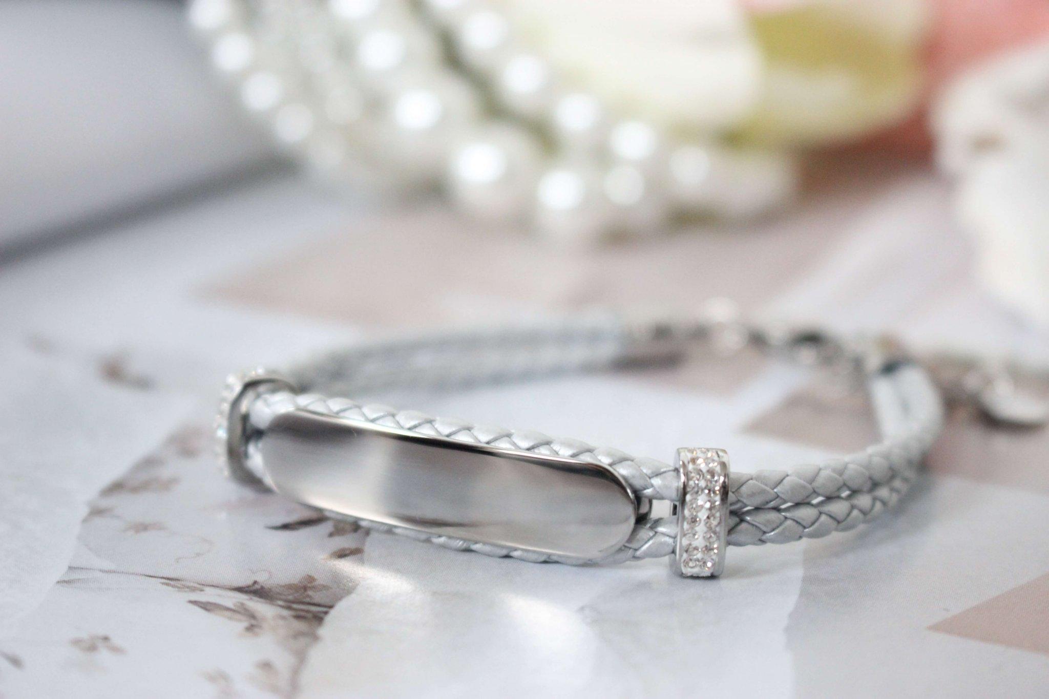 LUCARDI Stalen plaatarmband leer zilver met kristal